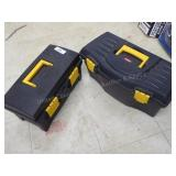 2 plastic tool boxes