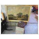 Vintage: stool, sampler & picture (loose from fram