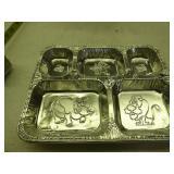 4 vintage aluminum TV trays - cartoons embossed