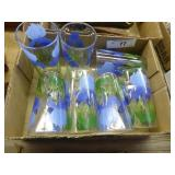 Set of 7 vintage floral glasses