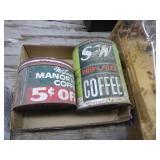 2 vintage coffee tins - 1 w/ lid