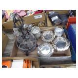 Vintage cruet set, pewter & silver plate