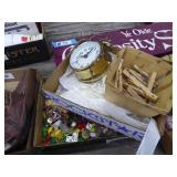 2 boxes textiles, clock & pins