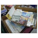 2 boxes vintage maps & paper items