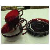 4 vintage ruby red cups & saucers