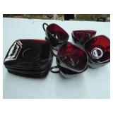 """8 vintage ruby red """"charm"""" square cups & saucers"""