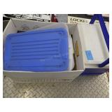 small cooler & 3 plastic containers