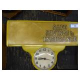 Vintage lighted insurance sign & clock (plastic Br
