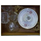 Dishes, holder, & glass items