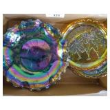 2 carnival glass dishes (1 chipped) & 2 plates