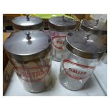 Set 5 glass cannisters - medical theme