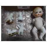 "6"" Japan bisque doll & vintage Snow Babies (Snow"
