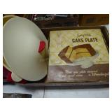 Anchor glass cake plate & Tupperware