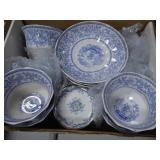 Antique blue/white cups & saucers - marked UNION (
