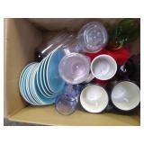 Glasses & box of glass jar lids