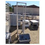 "Stainless steel wheeled rack w/ trays - 64""H x 16"