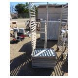 "Stainless steel wheeled rack w/ trays - 69""H x 20"