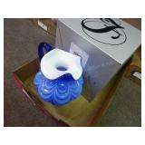 Fenton cobalt overlay drapery pitcher