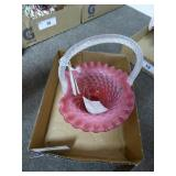 Fenton cranberry spiral optic hobnail basket - no
