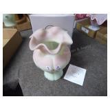 Fenton vase lotus mist Burmese limited - signed