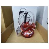 Fenton cranberry basket 2003 - signed