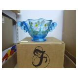 Fenton mulberry blue bowl - painted