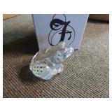 Fenton crystal iridized frog - signed
