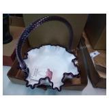 Fenton hand painted white - purple basket