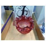 Fenton ruby red basket