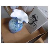 Fenton signature piece - blue vase signed