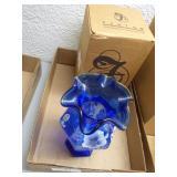 Fenton cobalt blue hexagonal vase - morning glory