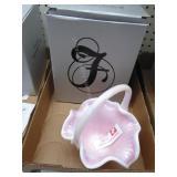 Fenton rosalene basket - signed