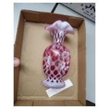 Fenton purple basket - floral design signed - No b