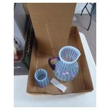 Fenton misty blue optic 2pc set 1998 - signed