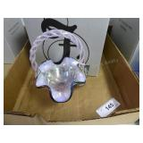 Fenton rose opal carnival basket
