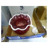 Fenton cranberry vase milkglass trim - signed
