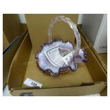 Fenton ribbon candy edge basket - signed