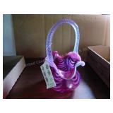 Fenton cranberry basket w/ white swirls - NO box