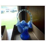Fenton cobalt blue opal diamond basket signed - NO