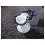 Fenton milkglass w/ purple vase signed