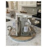 TRAY W/ PITCHER, WINE GLASSES & SHAKER
