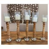 5PC WOOD CANDLE HOLDERS