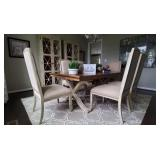 7PC-WOOD TABLE W/NUDE CHAIRS