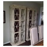 """CREAM """"WASHED"""" CHINA CABINETS W/2-DOORS"""