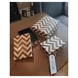 BROWN/BEIGE PATTERNED DECO BOXES