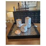 BLACK PATTERNED TRAY W/ CANISTERS
