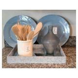 DECO TRAY WITH PLATES & CANISTER & VASE