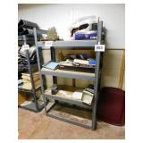 "Metal shelf frame with wooden shelves, 60"" x 36"""
