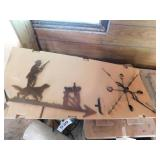 Hunter with bird dog weather vane with post