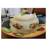 Large serving bowl with fruit design - small